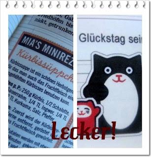 Fotos vom Lily Lux Notizbuch und dem Kürbissüppchen mit Glückstag und Winkekatze