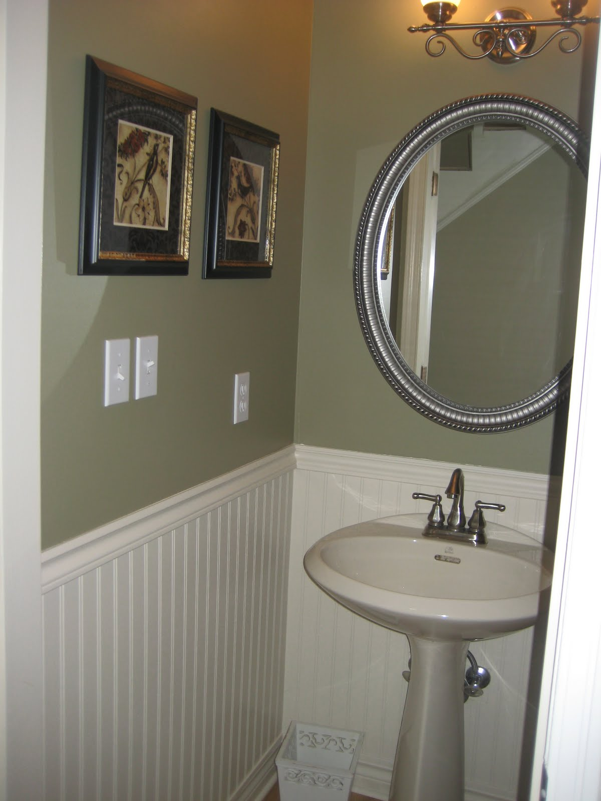 Remodelaholic new paint job in small bathroom remodel Very small powder room ideas