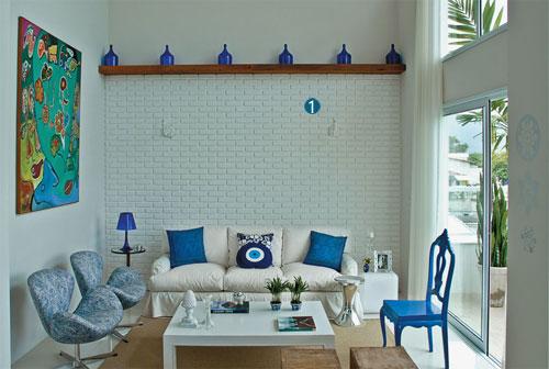 decor azul e branco