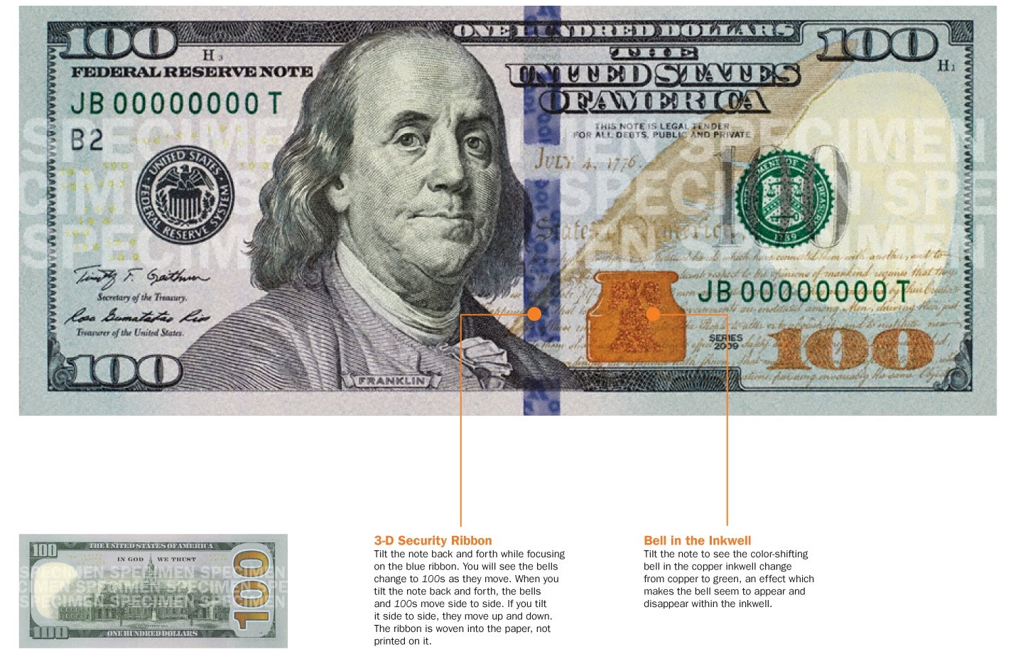 1977 100 dollar bill security features - How To Detect Counterfeit 100 Notes