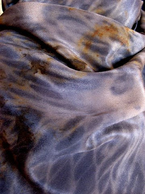 Rust and tannin dyed silk scarf