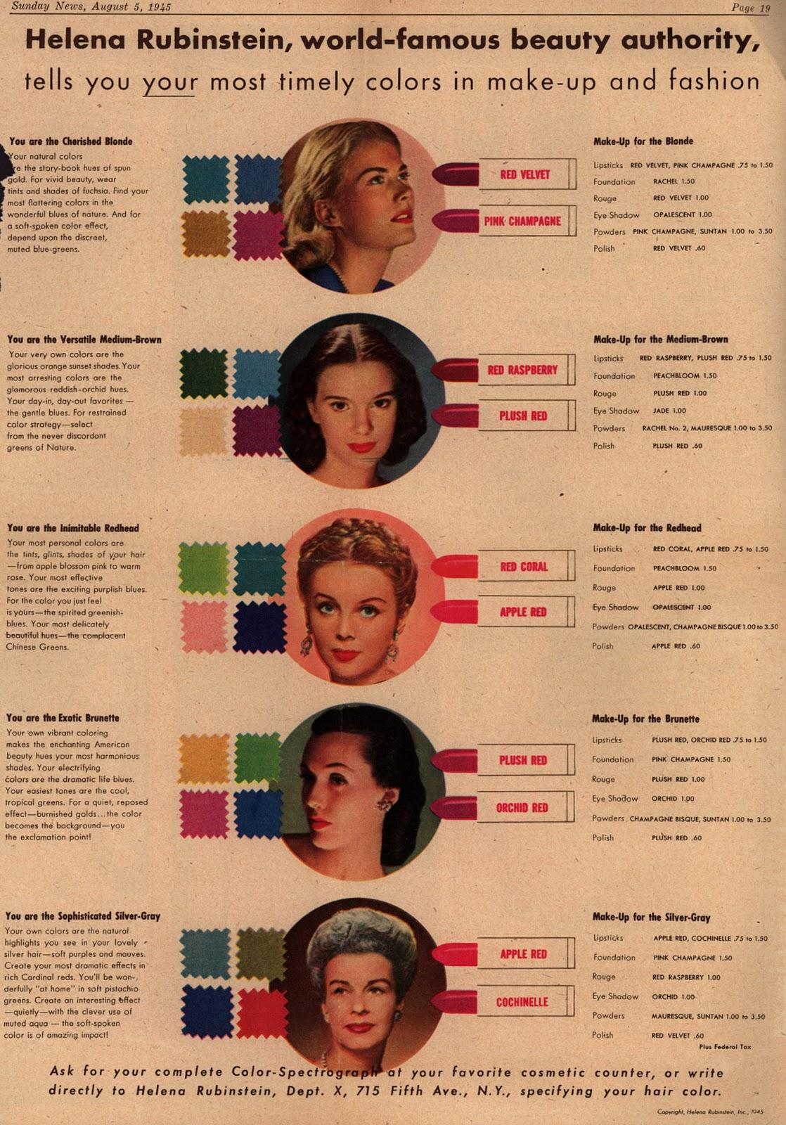 The Helena Rubinstein 1940 S Makeup Guide Glamour Daze