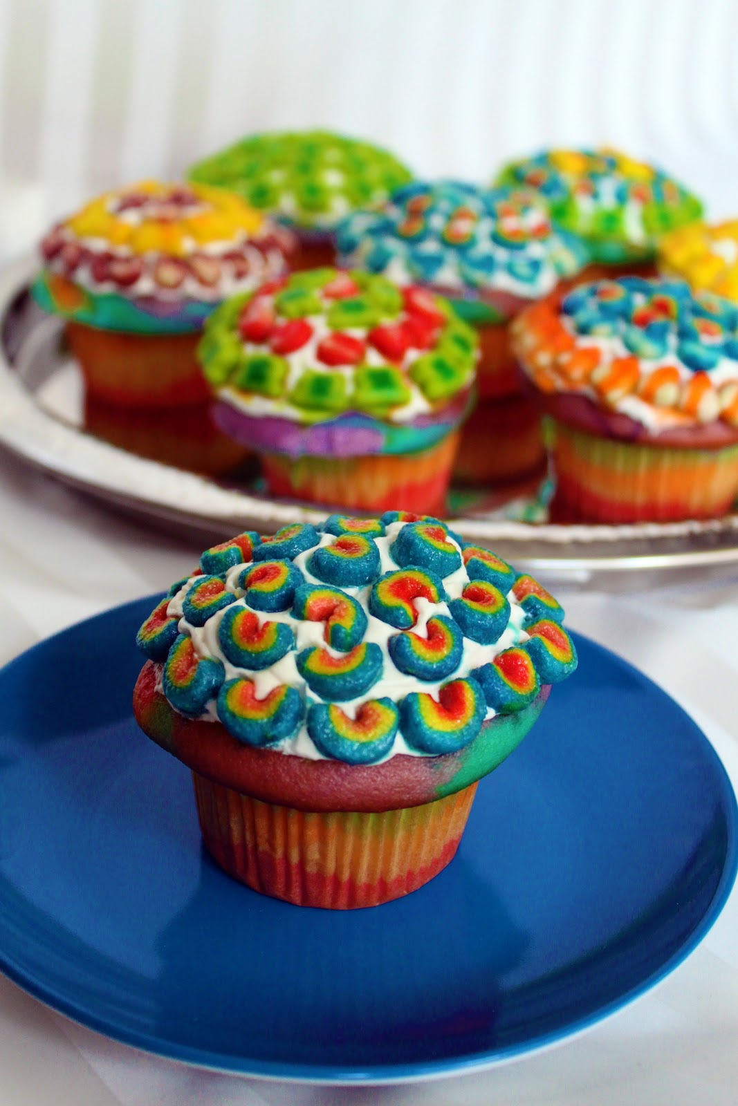 Clutzy Cooking Double Rainbow Cupcakes