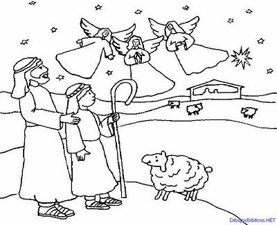 El Anuncio A Los Pastores Nt Dibujo Para Colorear B N Ana De