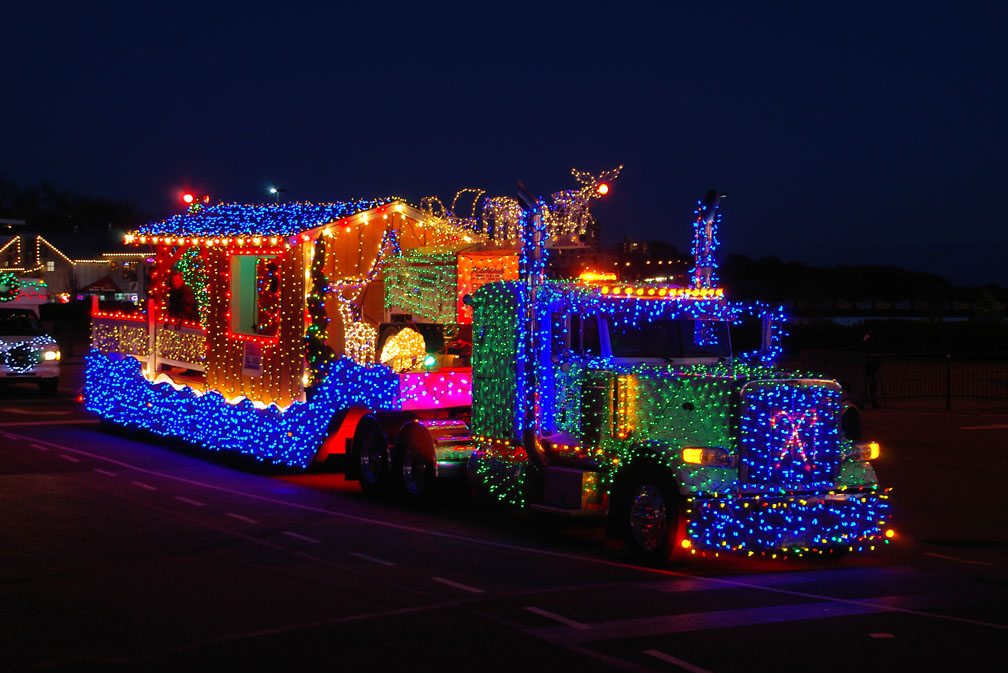Tow Truck With Trailer In Full Christmas Decoration