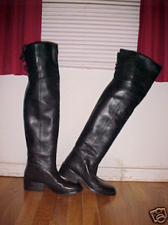 26772b6613a These great DKNY black leather thigh-high riding boots in a very attractive  size 9 sold for a very deserving  163.50. With the low heels and the  rounded ...
