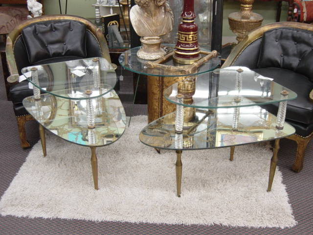 Newport Avenue Antiques Incredible Pair Vintage Hollywood Regency Glass And Mirror Tables Authentic Old Zebra Skin Rug