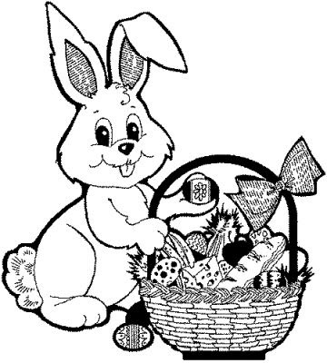 Beautiful Easter eggs and Easter bunny coloring pages for