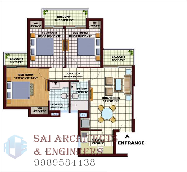SAE: 3D Views, Funiture Plans And Interiors