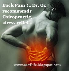 Dr.Oz's recommendation for lower back pain relief include chiropractic, PT and stress relief...