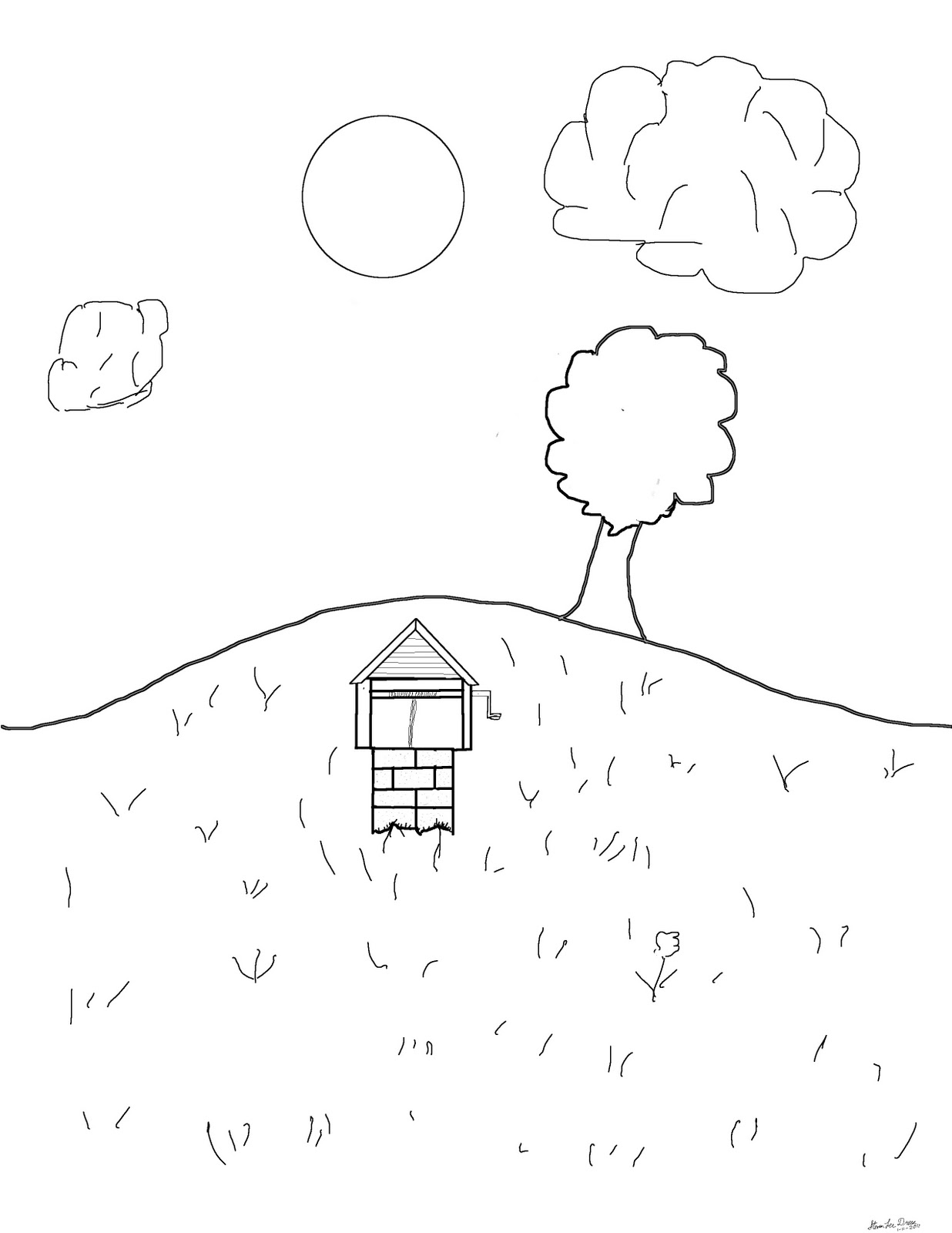 Teaching myself to draw...: a hill for Cierra, coloring page