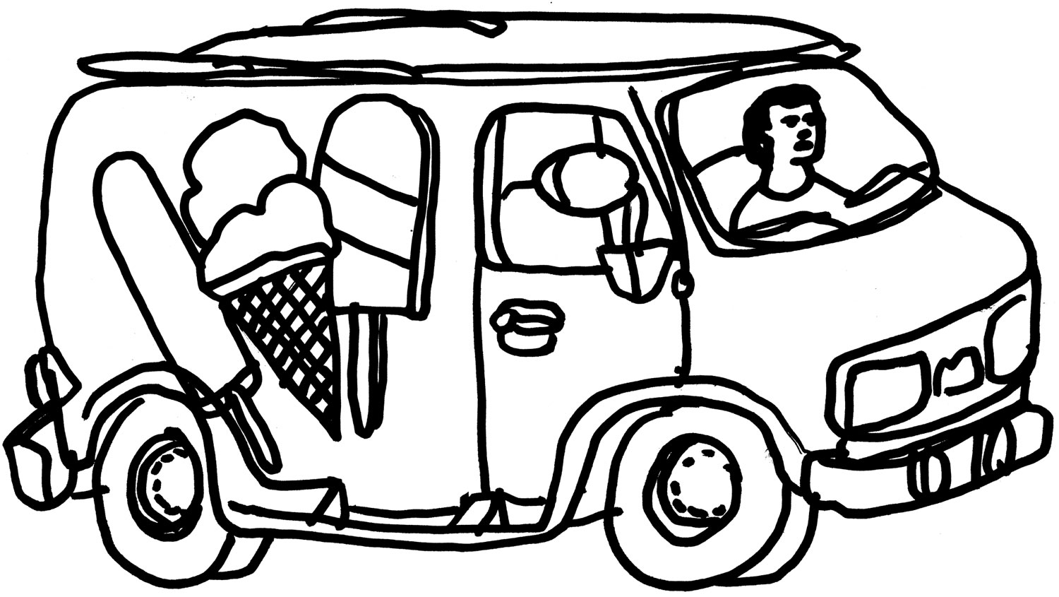 ice cream truck coloring page -#main