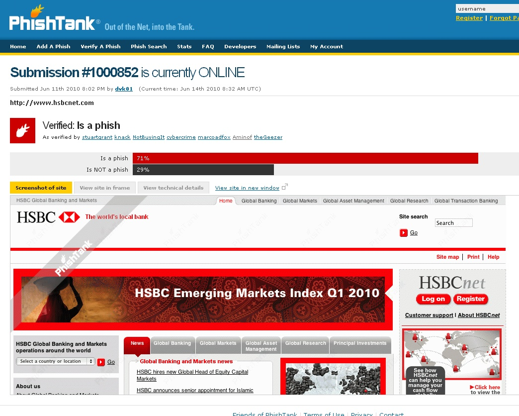 Dynamoo's Blog: Phishtank FAIL: hsbcnet com / hsbc net