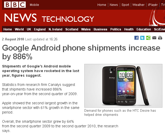 Android Smartphone: 2010