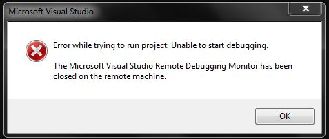 short fast code the microsoft visual studio remote debugging monitor has been closed on the. Black Bedroom Furniture Sets. Home Design Ideas