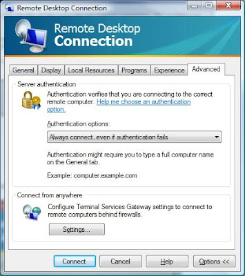 How to disable the warning message in Windows Vista Remote
