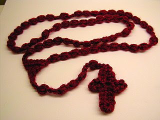 I looked FOREVER for a rosary pattern. I found one, but the beads were too difficult for me. This lady, wisely advised me to change the beads to puff ...