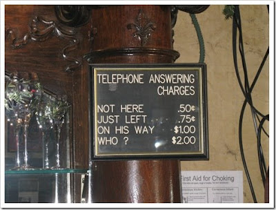 photo of phone answering charges in a bar