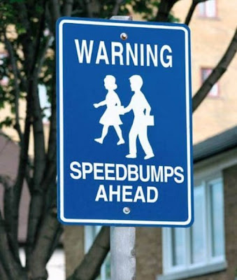 photo of a funny speed bump sign