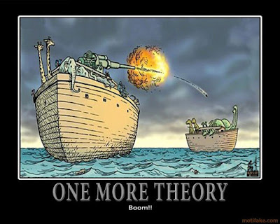 cartoon of noah's ark animals bombing the dinosaurs on another ark