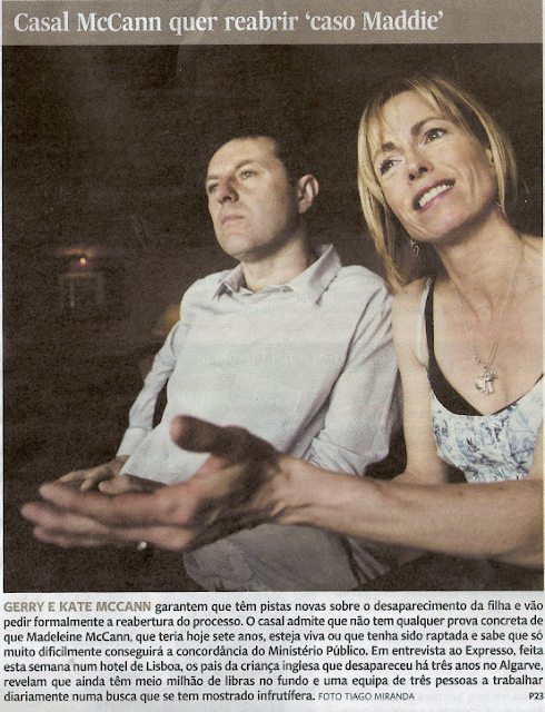 """Joana Morais:  Kate and Gerry McCann """"We have clues and we will ask for the reopening of the process""""  Mccanns+expresso+capa"""