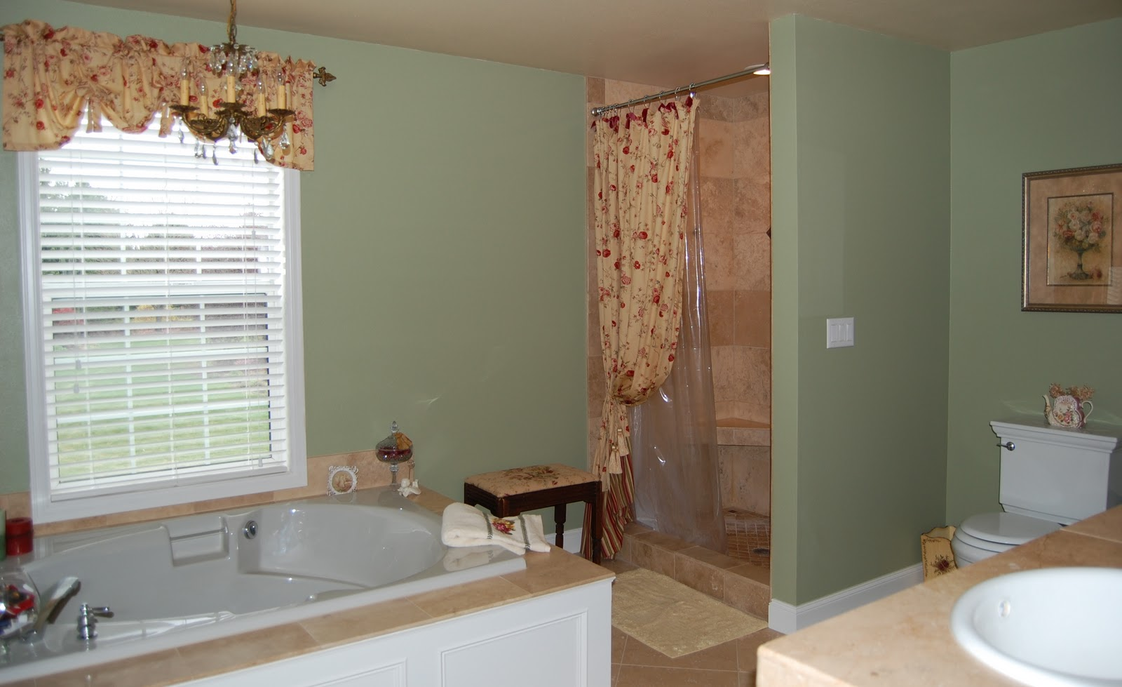 New Sage Green Rose Bathrooms With Tile And Tub
