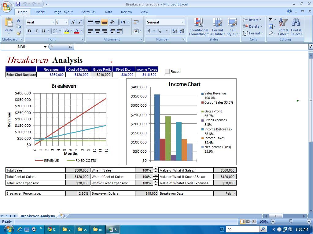 Financial-Templates: Break even Analysis