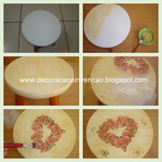 banquinho pintado, pátina, decoupagem