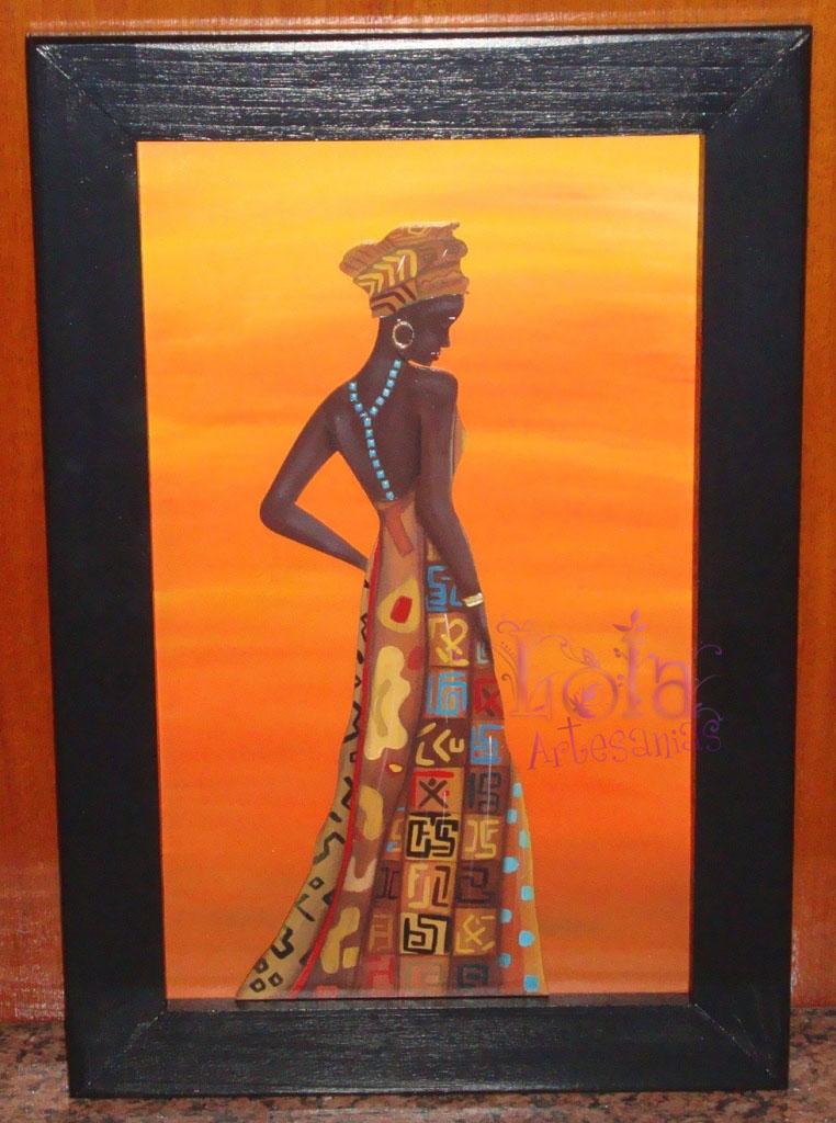 Lola Artesanías: Cuadro de africana pintado en acrilico