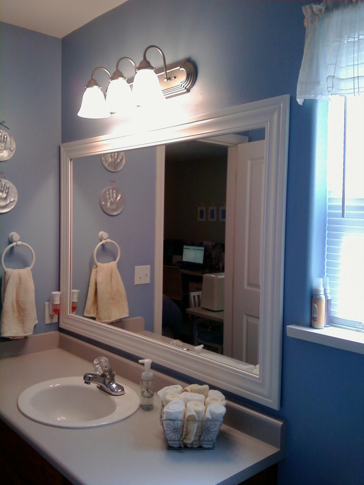 How To Frame A Large Bathroom Mirror This Thrifty House Framed Bathroom Mirror