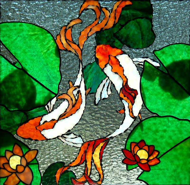 Beth elliott 39 s art for Koi pond glass