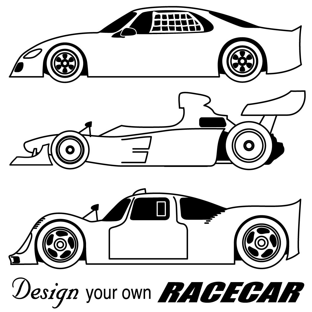 Black And White Clip Art Race Car Clipart