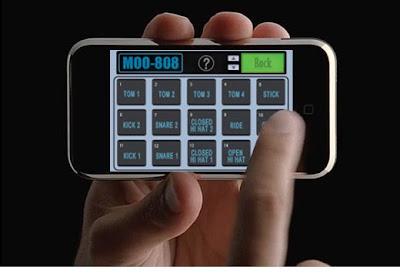 iPhone e uma aplicação para caixa de ritmos.