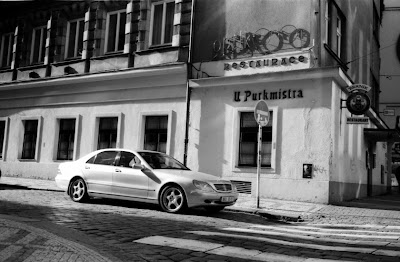 Prague - Mercedes S and U Purkmistra restaurant