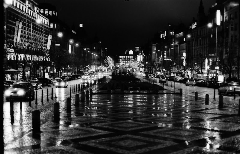 Rainy Wenceslas square in Prague