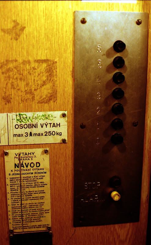 Photo of a control panel in an elevator, Prague
