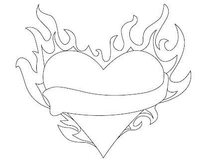 Coloring Pages Of Hearts With Flames Coloring Pages