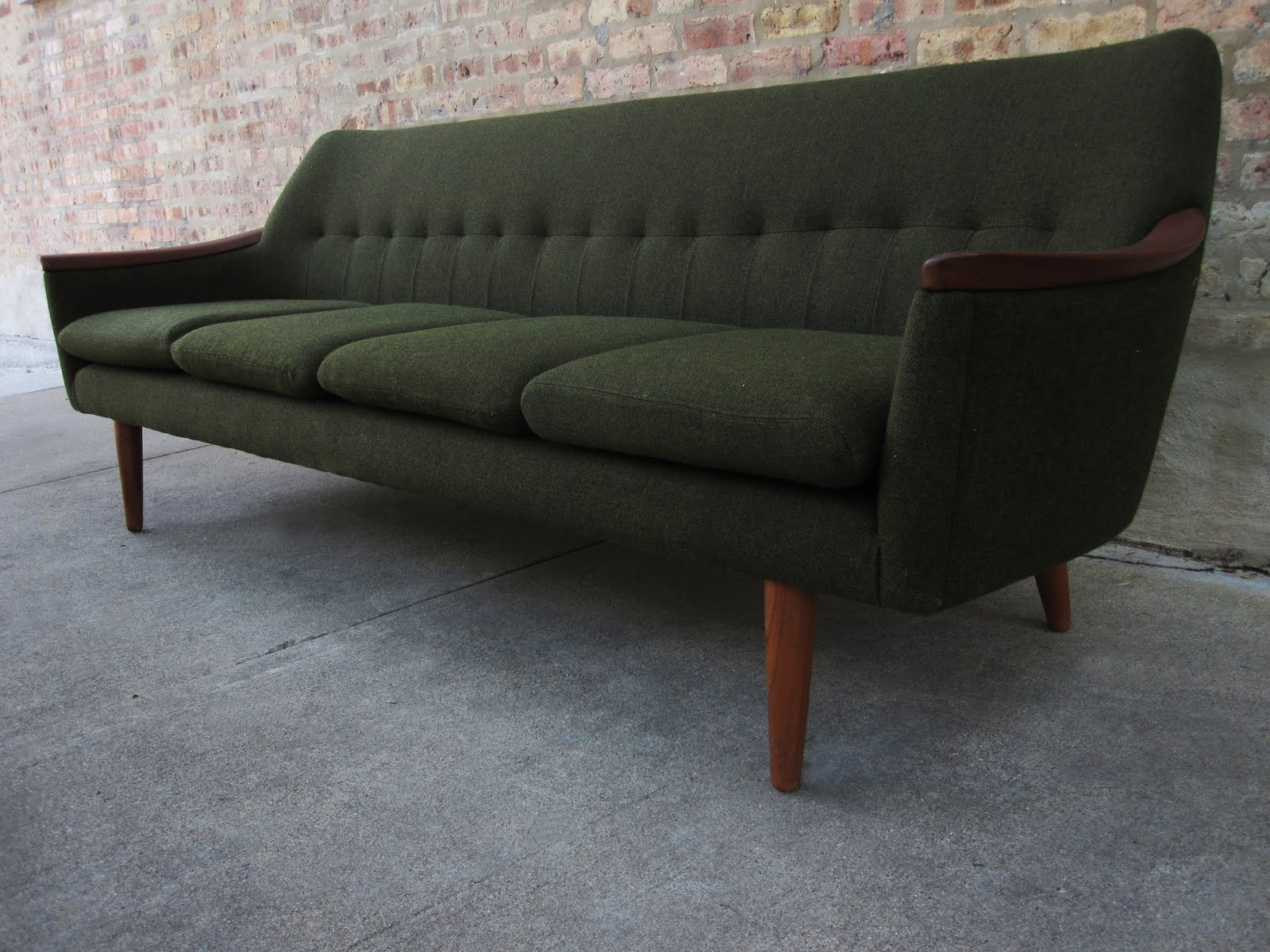 circa midcentury: 'danish modern' teak sofa