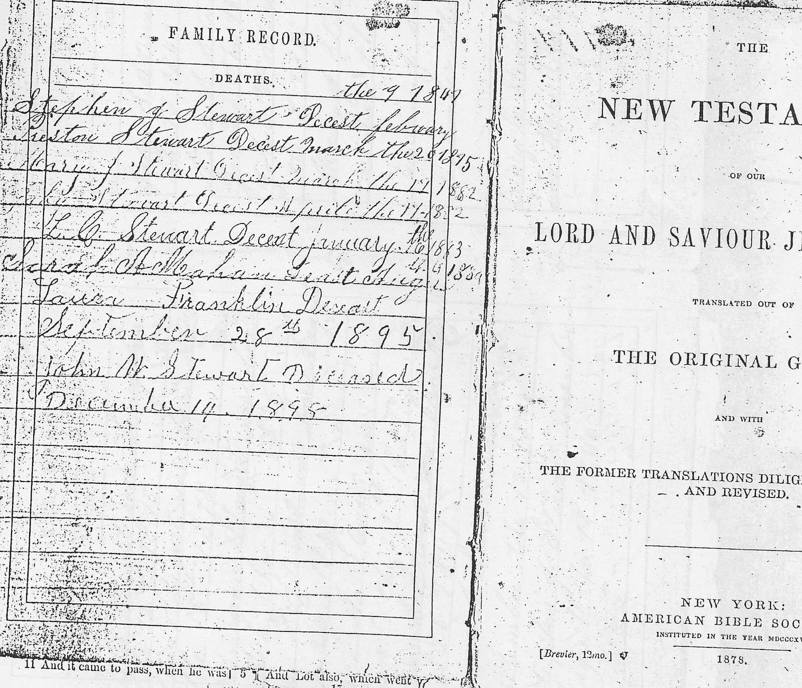clmroots family bible of preston and jane stewart of jackson