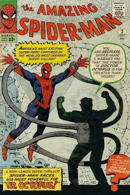 Amazing Spider-Man #3, spidey helpless as dr octopus holds him aloft, dr octopus first appearance and origin