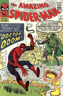 Amazing Spider-Man #5, Dr Doom fires shots at Spidey as the wall-crawler jumps out of the way, Steve Ditko, first meeting