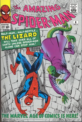 Amazing Spider-Man #6, Spidey and the Lizard fall down a stone shaft as they fight, first appearance and origin