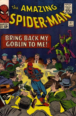 Amazing Spider-Man #27. The Green Goblin and the Crime-Master, Spicer-Man in chains as he is surrounded by the mob, Steve Ditko