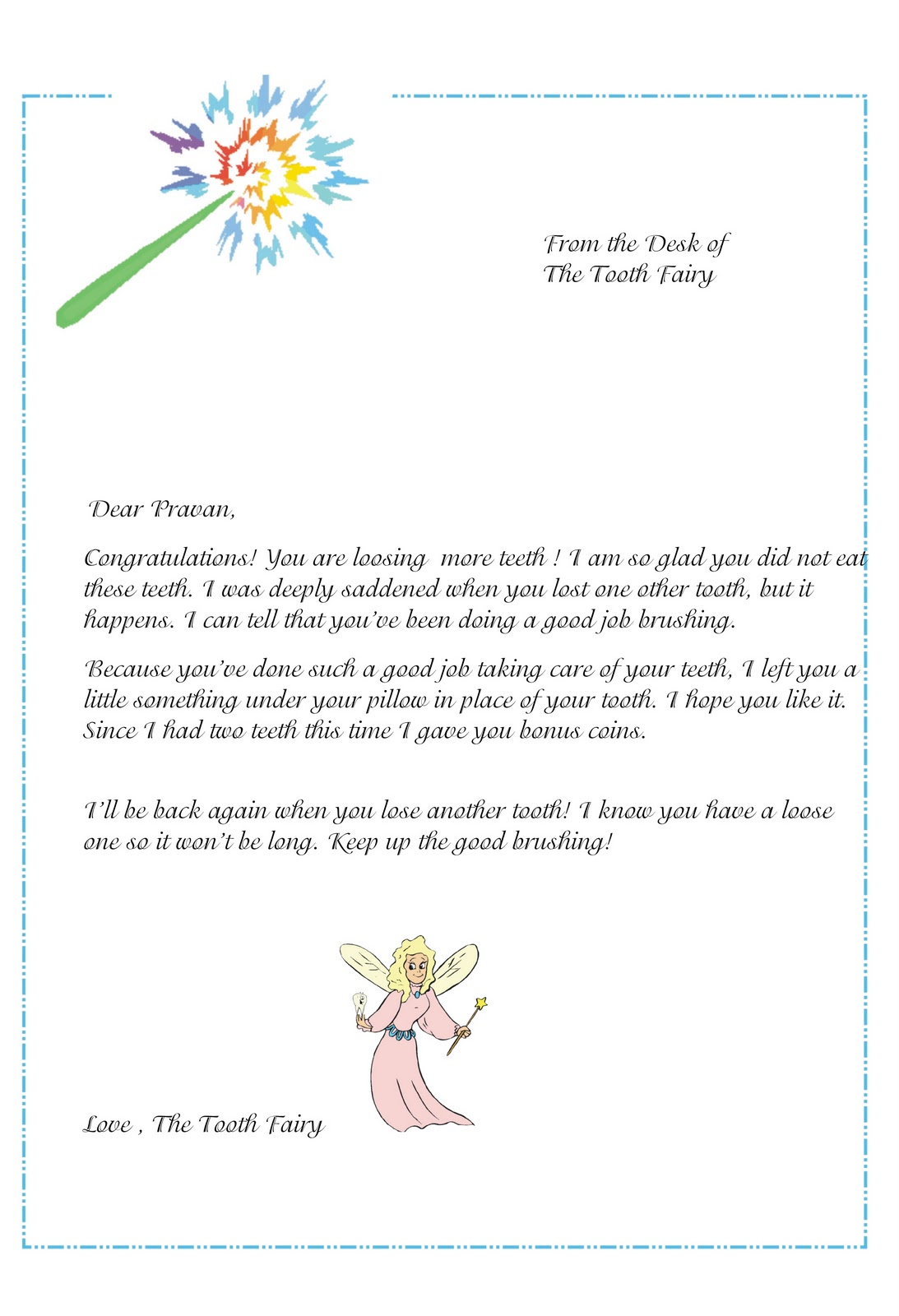 tooth fairy writing template - tooth fairy letter template levelings