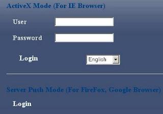 IP Camera login page