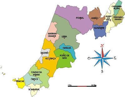 mapa de portugal distrito de leiria DISTRITO DE LEIRIA   PORTUGAL   GENTES E LOCAIS mapa de portugal distrito de leiria