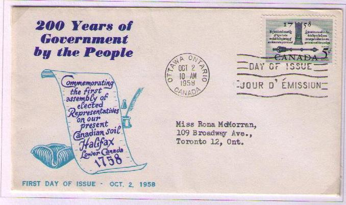 Postal History Corner 1958 First Elected Assembly In Canada
