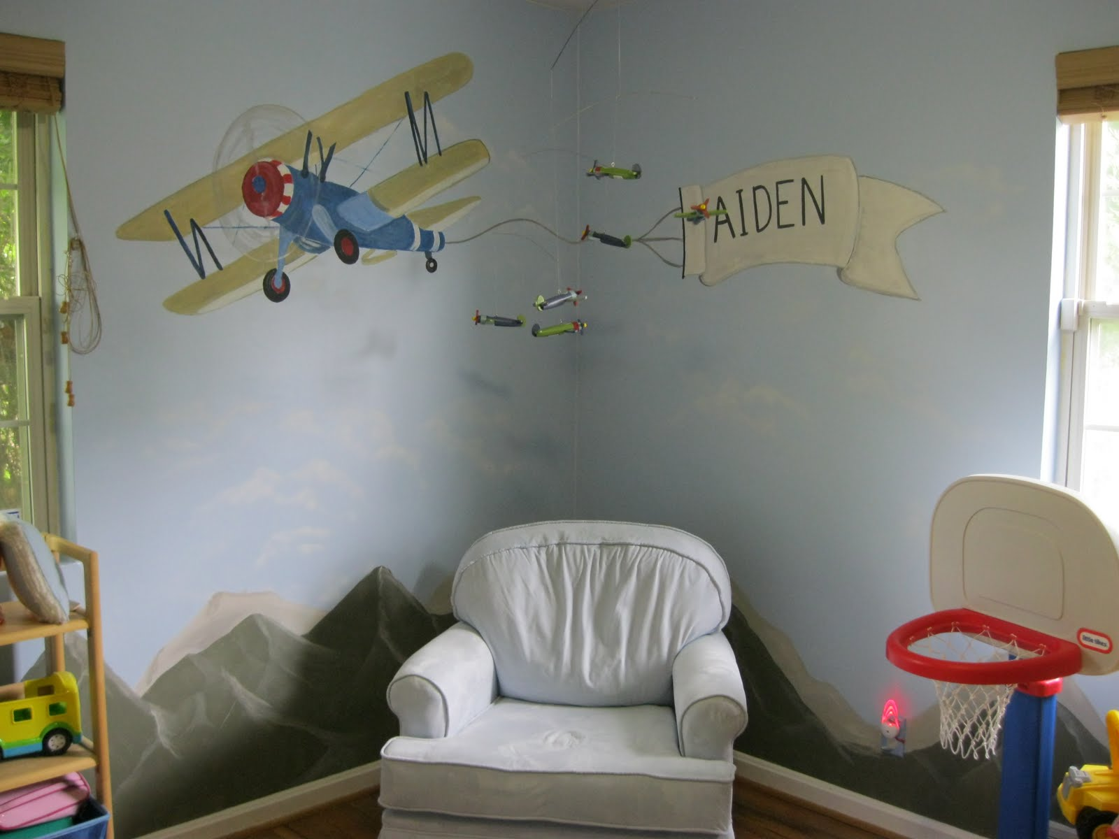 Boy S Room Mural Airplanes Helicopters W Cloudountains