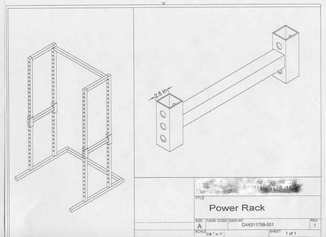 Engineer's Health Notes: Homemade power rack drawing