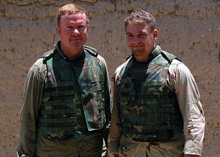Jim Webb (left) and his son Jimmy in Afghanistan last year. The younger Webb recently returned home from Iraq. Courtesy Jim Webb.